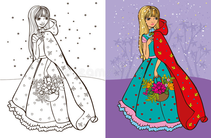 Colouring Book Of Girl In Red Coat vector illustration
