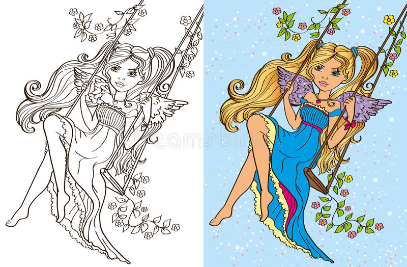 Colouring Book Of Girl Rid On Swing vector illustration