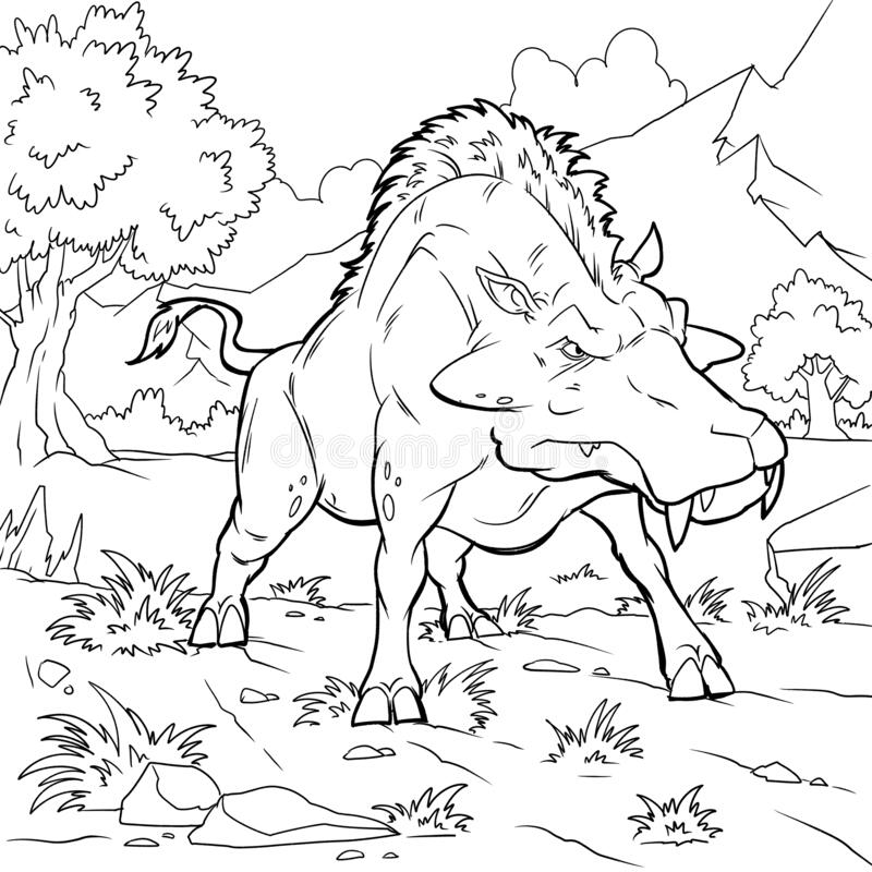 Colouring Book For Kids And Children. Cartoon Illustration. Prehistoric Animals  Coloring Stock Illustration - Illustration Of Animal, Fossil: 186108616
