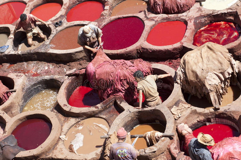 Colouring lether in Marocco stock photography