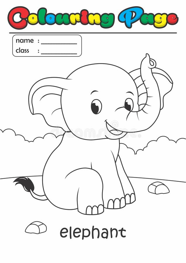 Colouring Page/ Colouring Book Elephant. Grade easy suitable for kids. Animal Colouring Page/ Colouring Book Set. Grade easy suitable for kids under 5 years old stock illustration