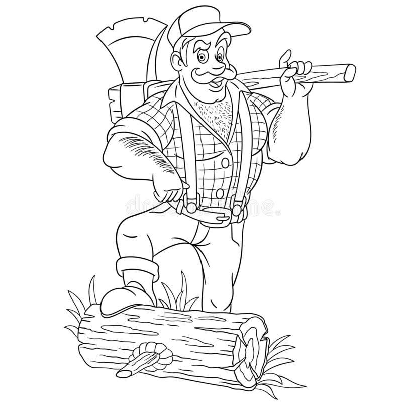 Coloring page with lumberjack holding axe stock illustration