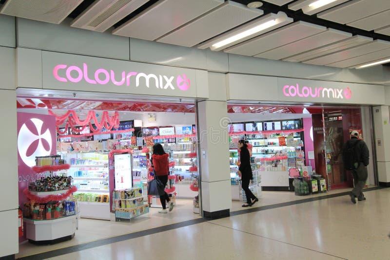 Colourmixwinkel in Hongkong stock afbeelding