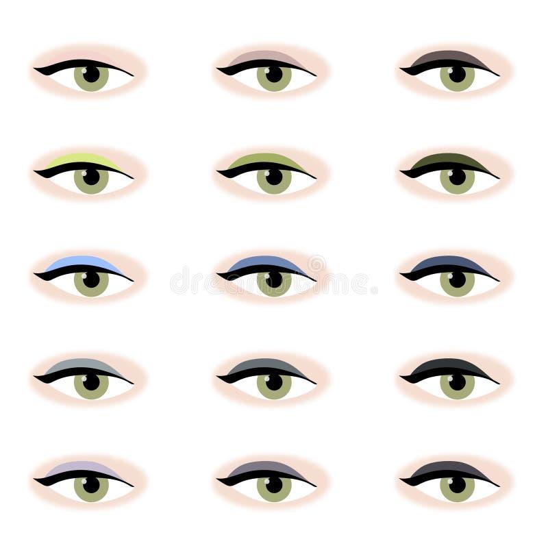 colours ögonskugga vektor illustrationer