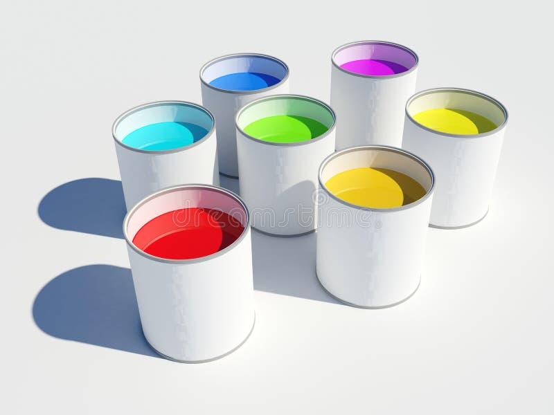 colours farba puszkuje tęczę ilustracji