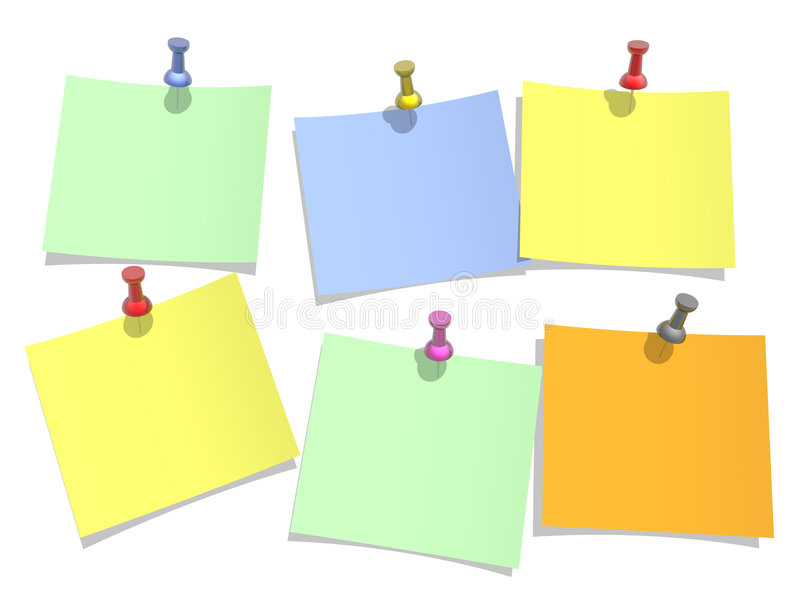 Colours paper pinned to a white background vector illustration