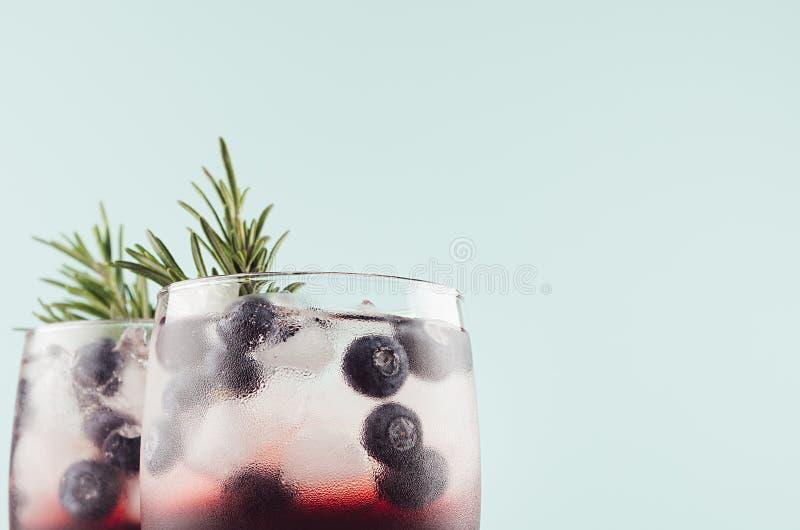 Colpi alcolici tropicali del liquore dolce con i cubetti di ghiaccio, mirtillo, rosmarino della bacca su fondo verde chiaro molle immagine stock