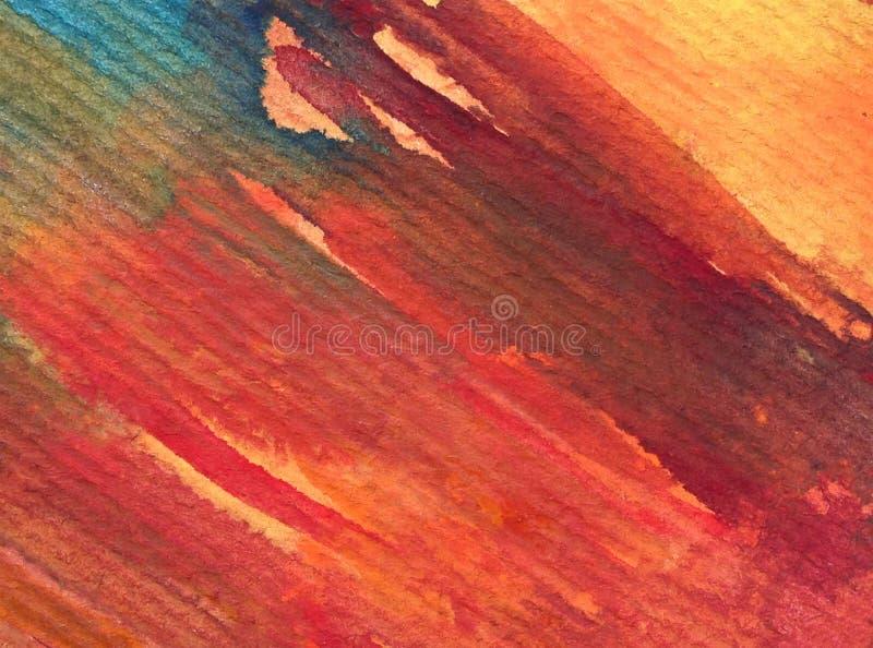 Colpi arancio rossi strutturati variopinti di autunno dell'estratto del fondo di arte dell'acquerello fotografia stock libera da diritti