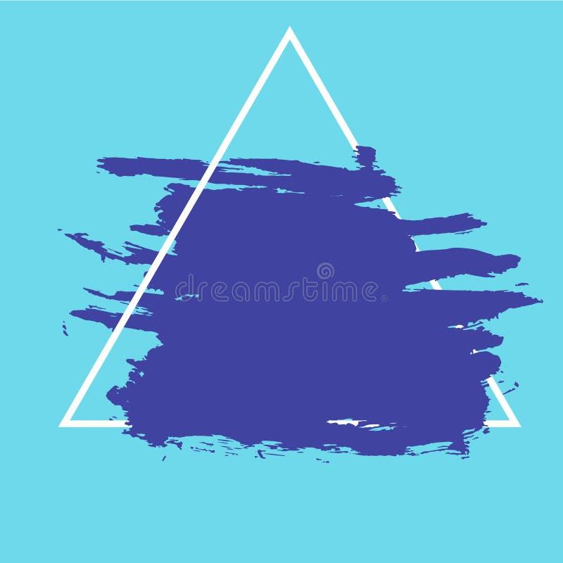 Colpi astratti della pittura su fondo blu con la struttura geometrica illustrazione di stock