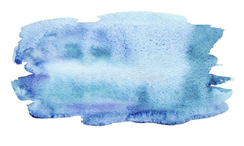 Colpi astratti della spazzola del turchese blu disegnato a mano dell'acquerello isolati su fondo bianco illustrazione vettoriale