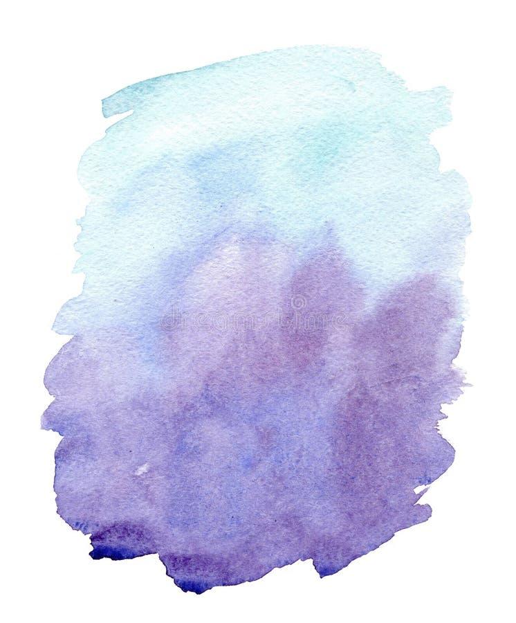 Colpi astratti viola blu della spazzola dell'acquerello disegnato a mano isolati su fondo bianco illustrazione vettoriale