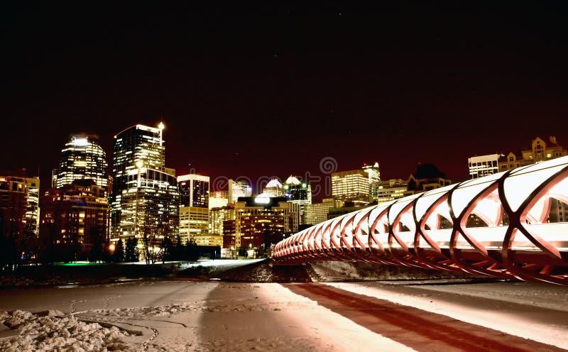 Colpi Calgary Alberta Canada di notte immagine stock