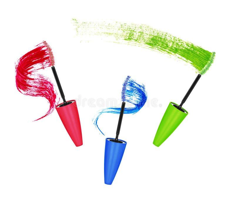 Colpi colorati della spazzola e della mascara immagini stock