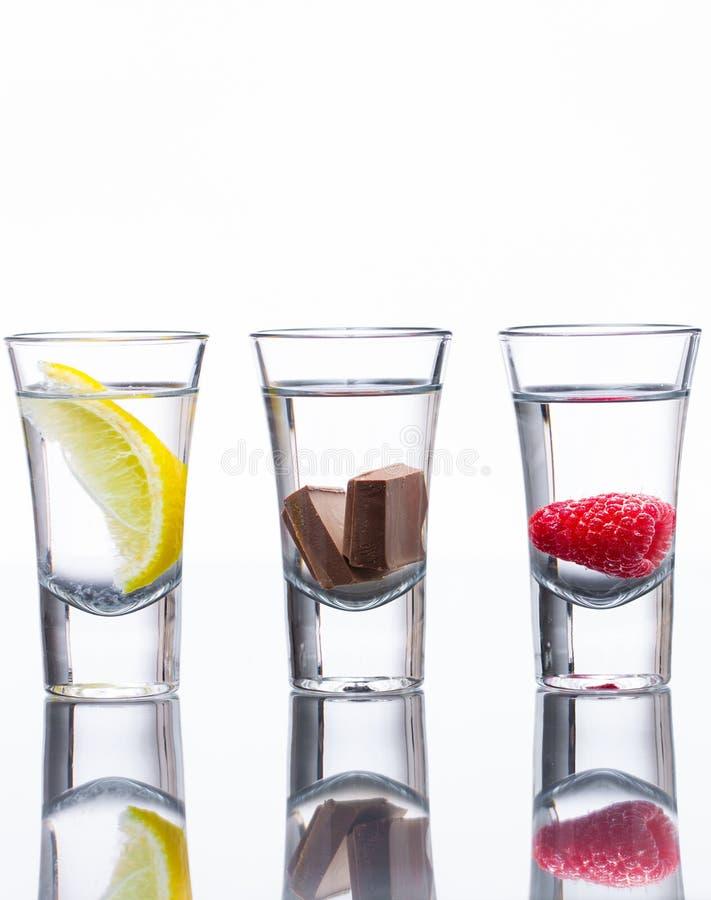 Colpi condetti della vodka fotografie stock libere da diritti