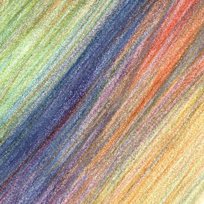Colpi del pastello della matita di colore, elemento disegnato a mano illustrazione di stock