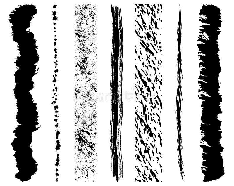 Colpi della spazzola dell'inchiostro di Grunge illustrazione vettoriale