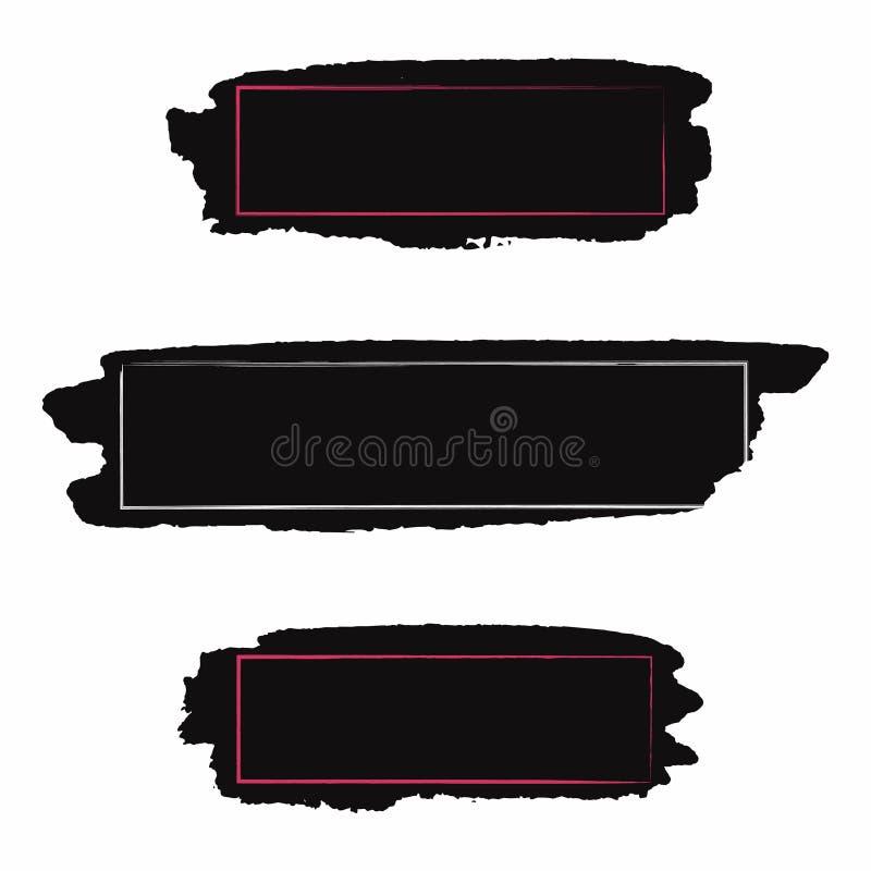 Colpi della spazzola impostati Pittura nera, colpo della spazzola di inc con il lerciume e struttura Struttura sporca per testo,  illustrazione di stock