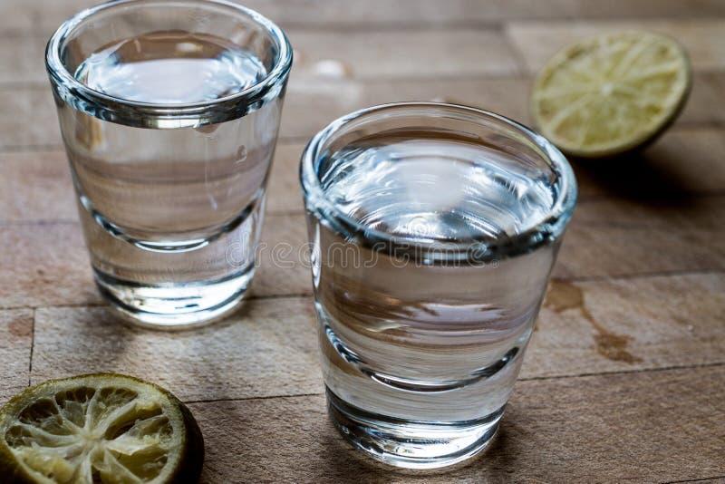 Colpi di tequila di Mezcal con calce e sale fotografie stock