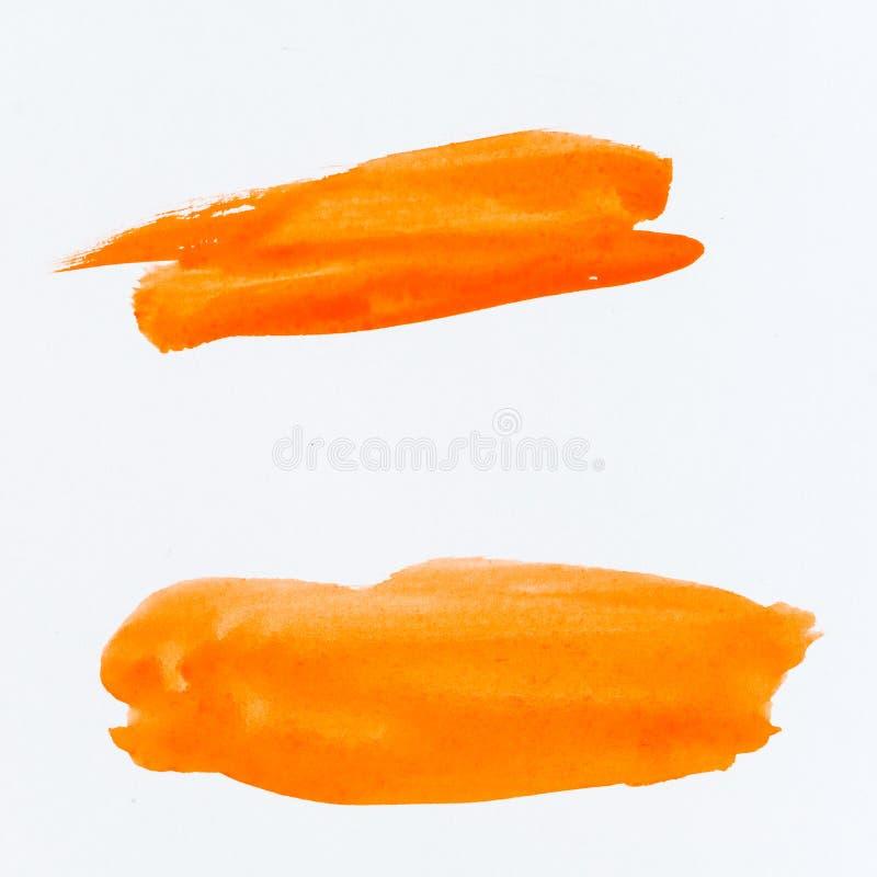 Colpi e struttura arancio della spazzola Sottolineatura e confine Watercol fotografia stock libera da diritti
