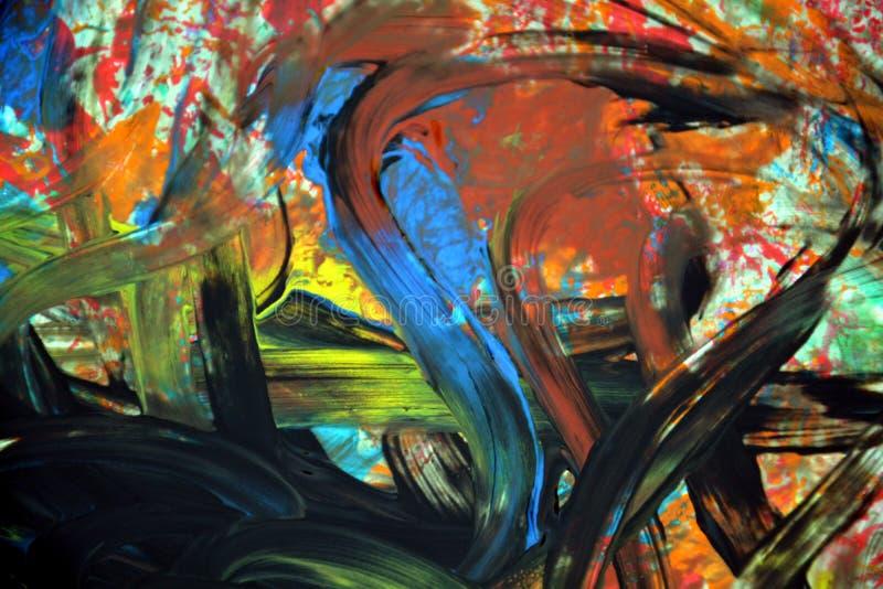 Colpi gialli verdi arancio blu neri della spazzola, pittura astratta e le geometrie immagini stock libere da diritti