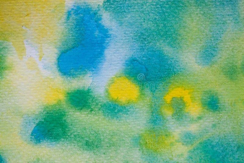 Colpi gialli, verdi e blu della spazzola dell'acquerello Fondo per progettazione Fondo dipinto a mano variopinto dell'acquerello royalty illustrazione gratis