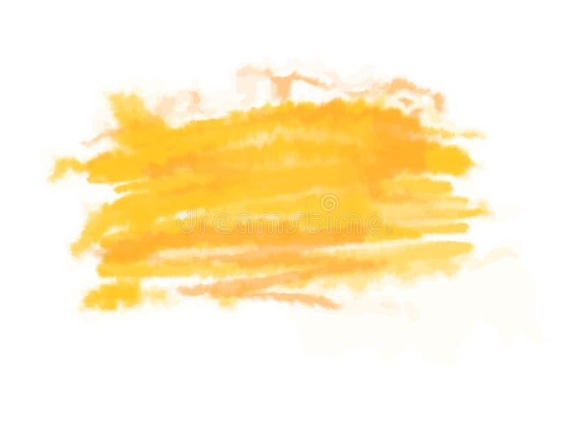 Colpi giallo arancione della spazzola dell'acquerello con spazio per il vostro testo Illustrazione di vettore, isolata su bianco illustrazione di stock