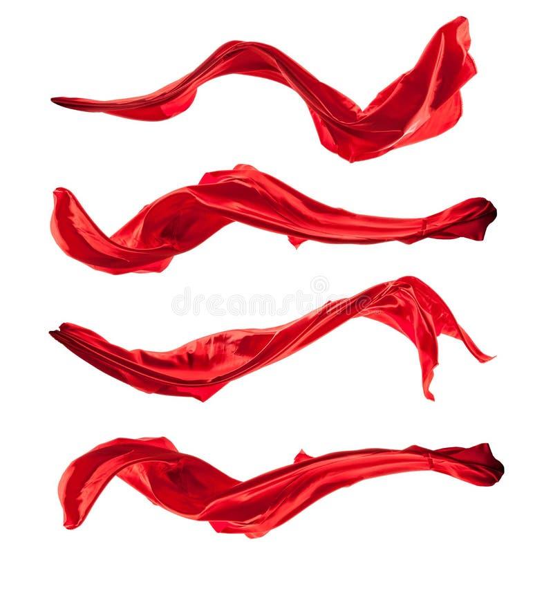 Colpi isolati di raso rosso, isolati su bianco fotografie stock libere da diritti