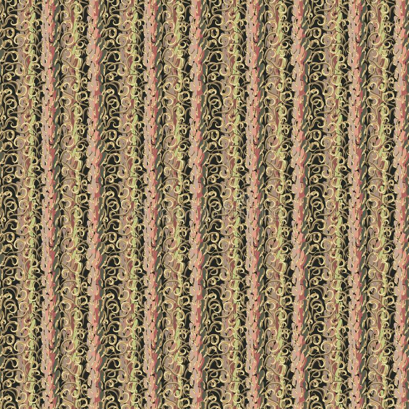 Colpi multicolori astratti della spazzola e riccioli dorati Fondo di lusso illustrazione di stock