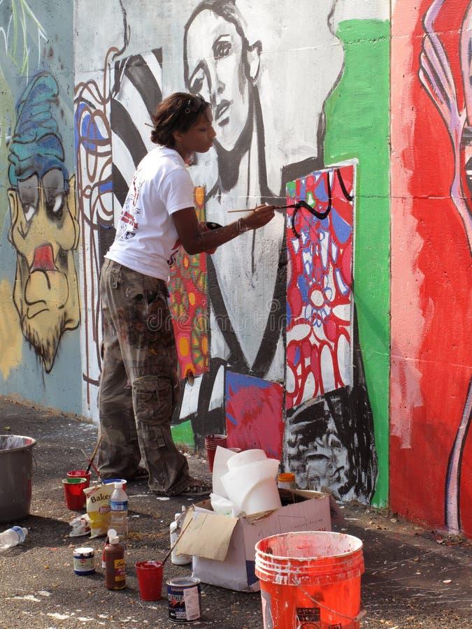 Colpi murali della spazzola fotografie stock libere da diritti