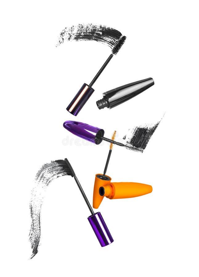 Colpi neri della spazzola della mascara fotografia stock