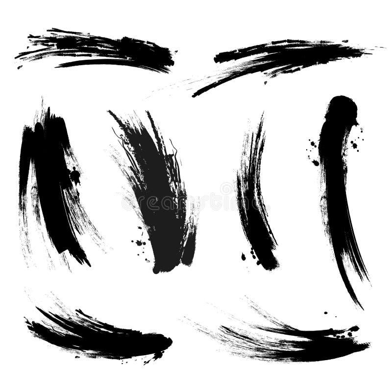 Colpi neri della traccia della spazzola della mascara di vettore su fondo bianco illustrazione vettoriale
