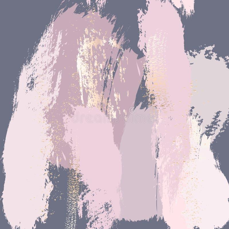 Colpi pastelli della spazzola con progettazione di vettore degli elementi di mignolo Struttura d'avanguardia del marmo dell'estra royalty illustrazione gratis