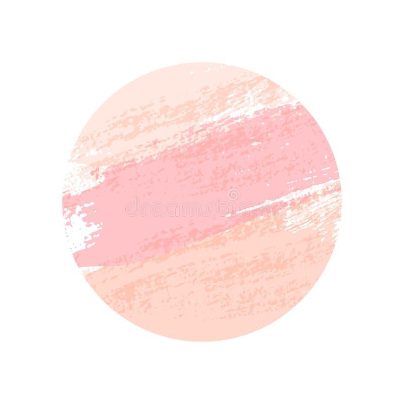 Colpi rotondi rosa pastelli della spazzola isolati su fondo bianco Elemento di disegno di vettore illustrazione di stock