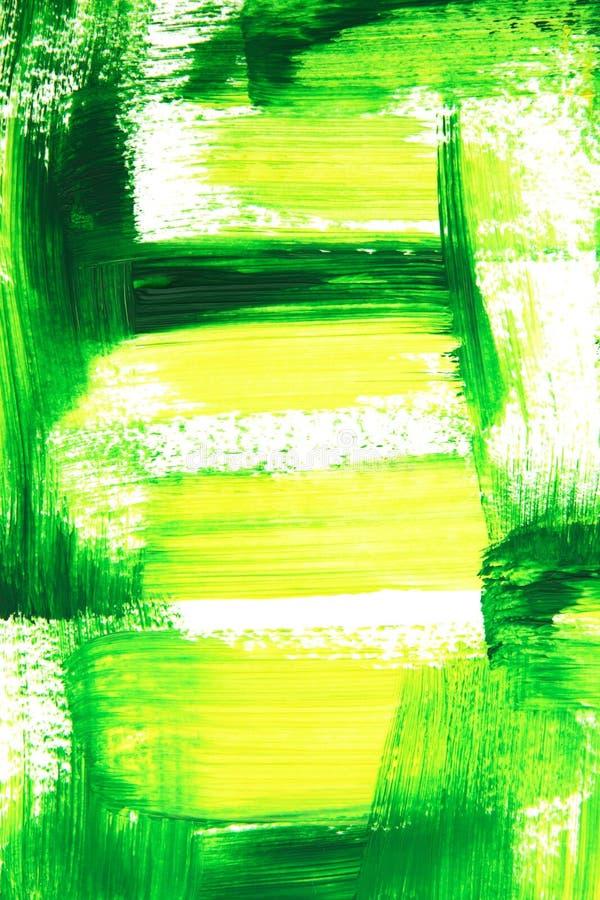 Colpi verdi e gialli vibranti della spazzola immagine stock libera da diritti