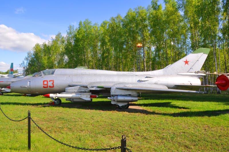 Colpisca il combattente Su-17M3 nel museo dell'aeronautica in Monino Regione di Mosca, Russia fotografie stock