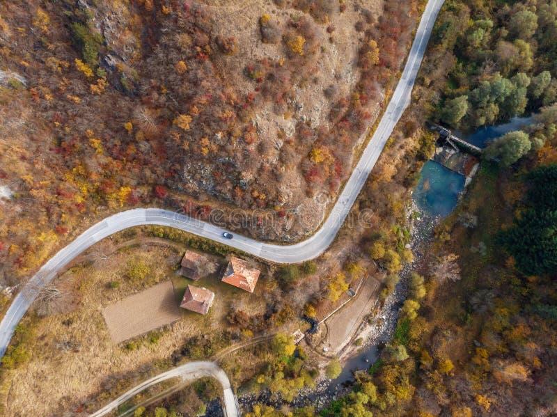 Colpo aereo del fuco della foresta di autunno, vista sopraelevata degli alberi del fogliame e strada fotografia stock libera da diritti