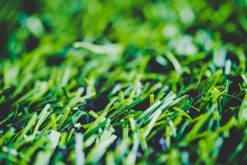 Colpo alto chiuso dell'erba del manufatto per il campo di sport dell'interno fotografia stock