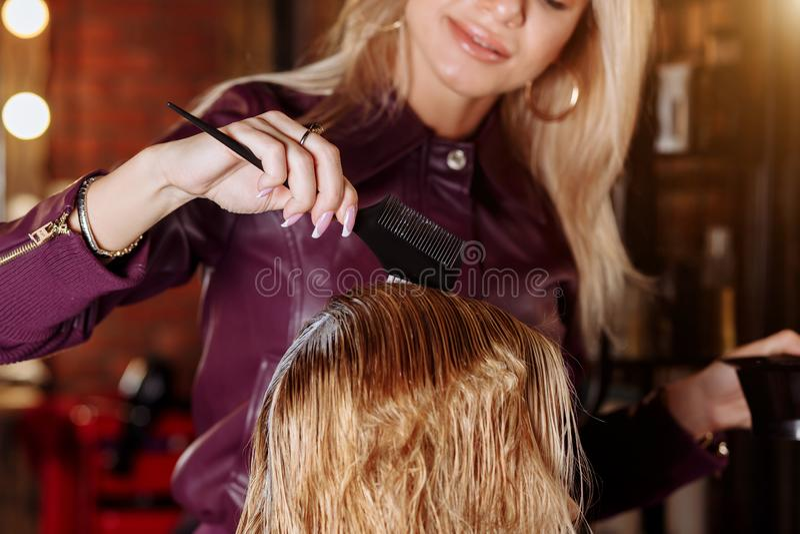 Colpo alto vicino delle mani del parrucchiere con la spazzola che si applica maschera o condizionatore ai capelli del suo cliente fotografia stock libera da diritti