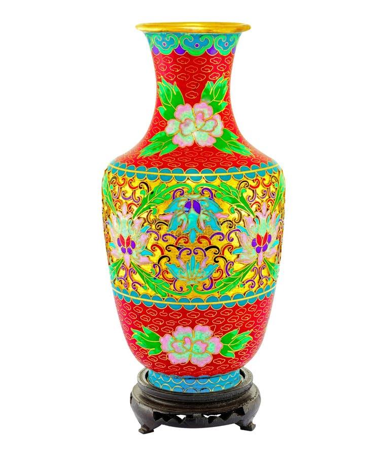 Colpo anteriore di isolamento cinese classico del vaso della pittura su bianco immagine stock