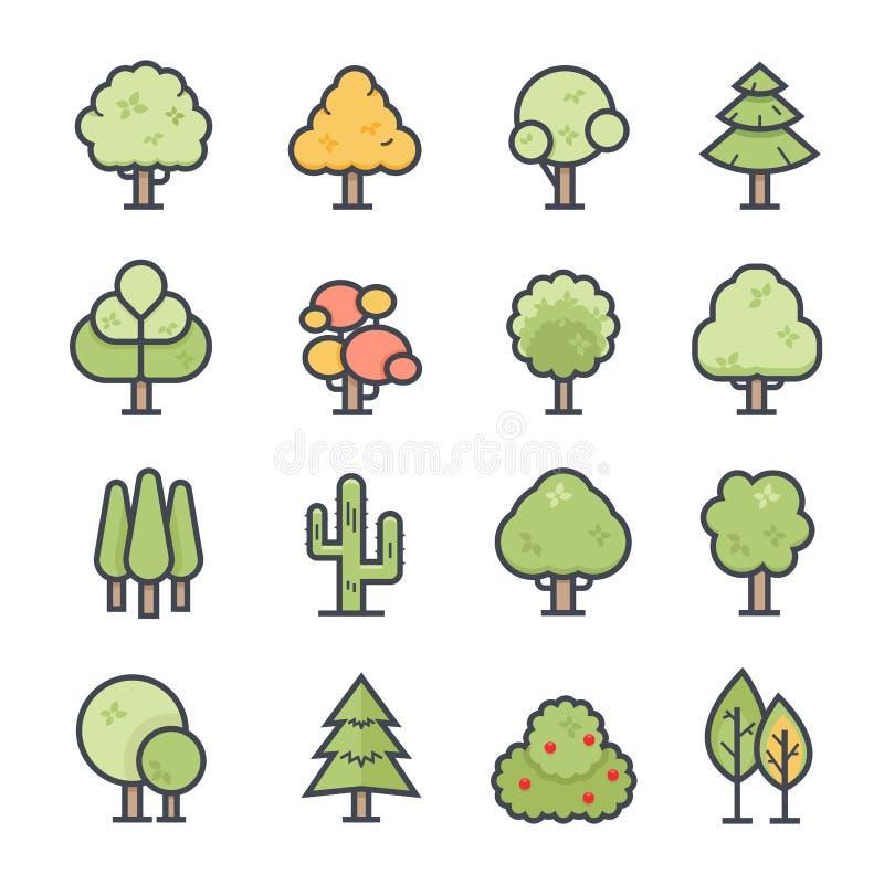 Colpo audace dell'icona dell'albero con colore illustrazione di stock