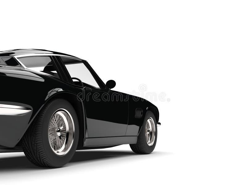 Colpo automobilistico del primo piano della ruota posteriore della corsa d'annata nera sinistra illustrazione vettoriale