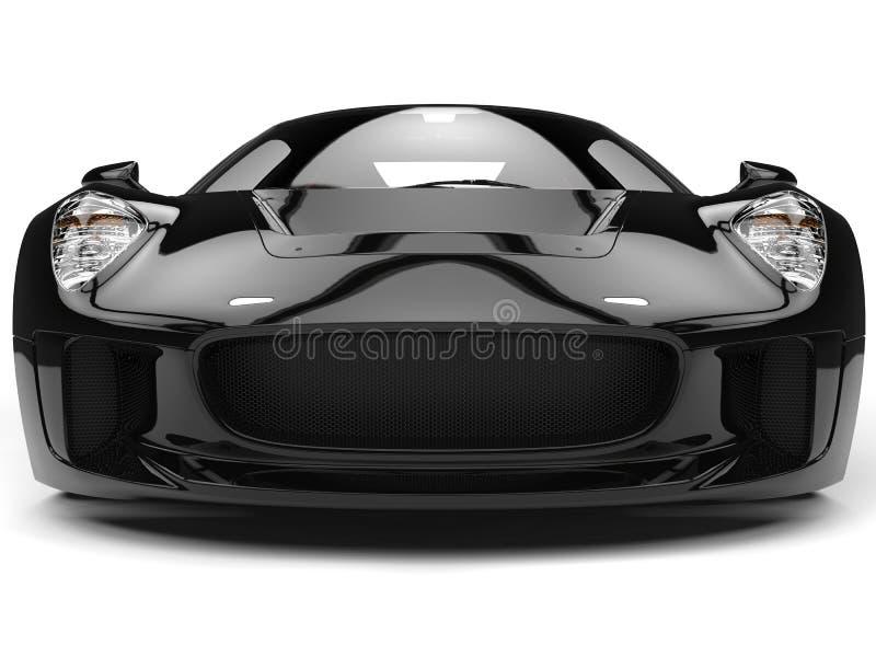 Colpo automobilistico del primo piano di vista frontale di sport eccellenti neri eleganti illustrazione di stock
