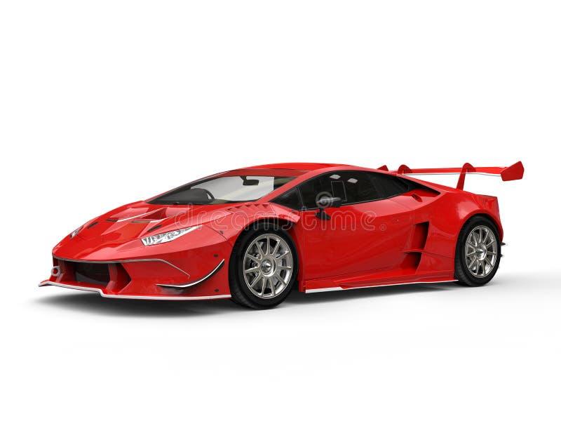 Colpo automobilistico di bellezza della corsa estrema cremisi futuristica impressionante illustrazione di stock