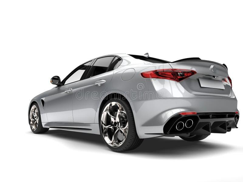 Colpo automobilistico veloce moderno d'argento eccellente del primo piano di retrovisione illustrazione vettoriale