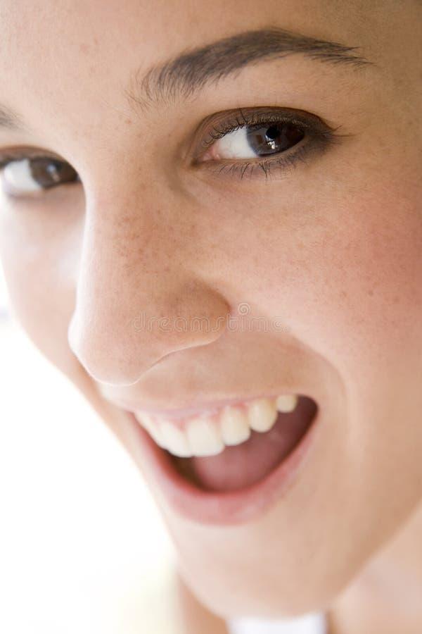 Colpo capo di sorridere della donna fotografia stock