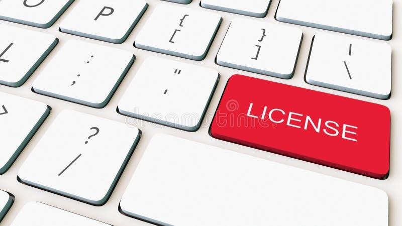 Colpo del primo piano della tastiera di computer bianca e della chiave rossa della licenza Rappresentazione concettuale 3d fotografia stock