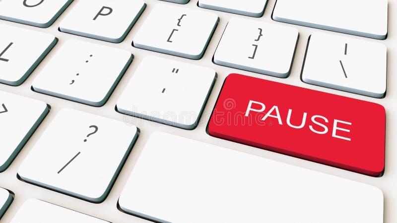 Colpo del primo piano della tastiera di computer bianca e della chiave rossa di pausa Rappresentazione concettuale 3d immagine stock