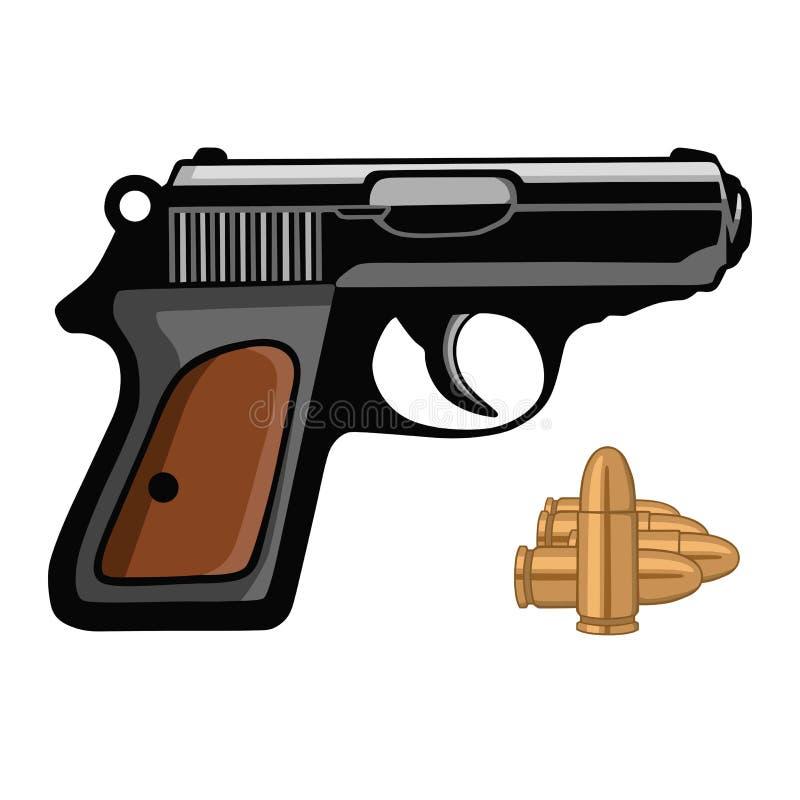 Colpo dell'arma della rivoltella della pistola della pistola con l'illustrazione di vettore delle pallottole fotografia stock libera da diritti