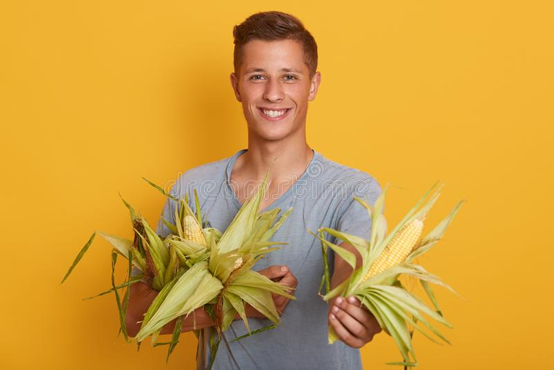Colpo dell'interno dello studio del ragazzo positivo bello sopra fondo giallo, tenendo cereale in entrambe le mani, essendo affet immagine stock