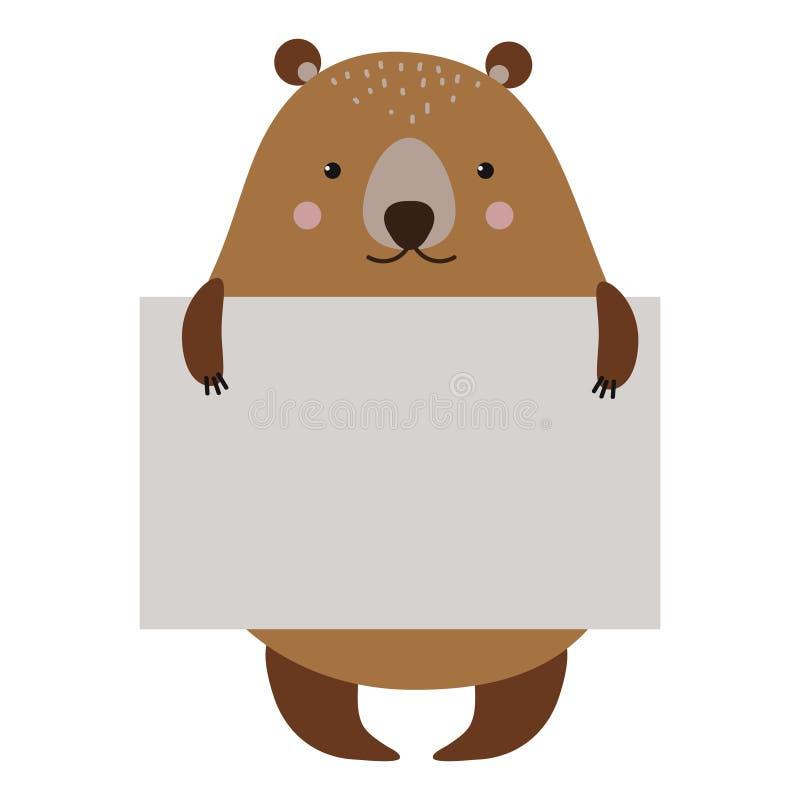 Colpo dell'orso dell'animale selvatico con il vettore pulito del conteggio su placchetta royalty illustrazione gratis